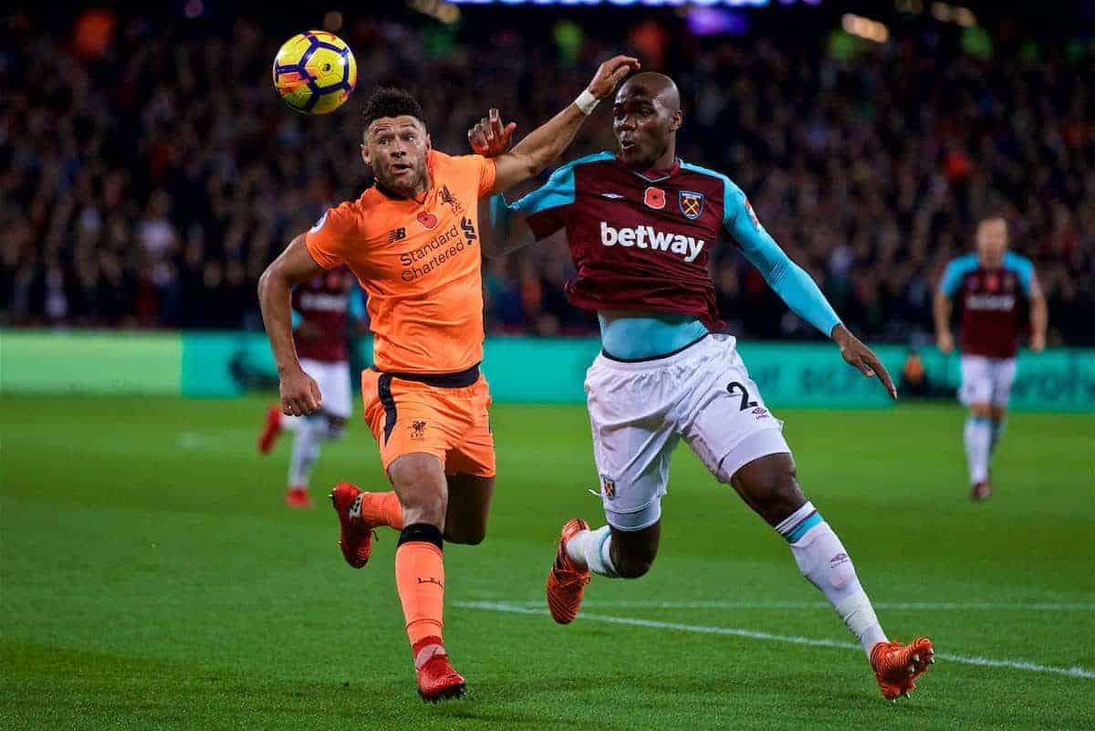 LONDON, ENGLAND - Saturday, November 4, 2017: Liverpool's Alex Oxlade-Chamberlain and West Ham United's Winston Reid during the FA Premier League match between West Ham United FC and Liverpool FC at the London Stadium. (Pic by David Rawcliffe/Propaganda)