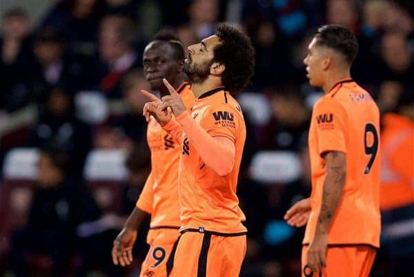 LONDON, ENGLAND - Saturday, November 4, 2017: Liverpool's Mohamed Salah celebrates scoring the first goal during the FA Premier League match between West Ham United FC and Liverpool FC at the London Stadium. (Pic by David Rawcliffe/Propaganda)