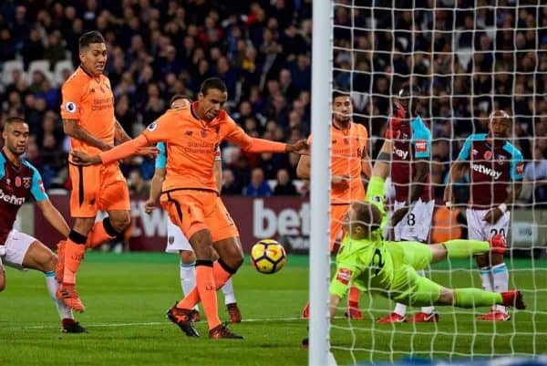 LONDON, ENGLAND - Saturday, November 4, 2017: Liverpool's Joel Matip scores the second goal during the FA Premier League match between West Ham United FC and Liverpool FC at the London Stadium. (Pic by David Rawcliffe/Propaganda)