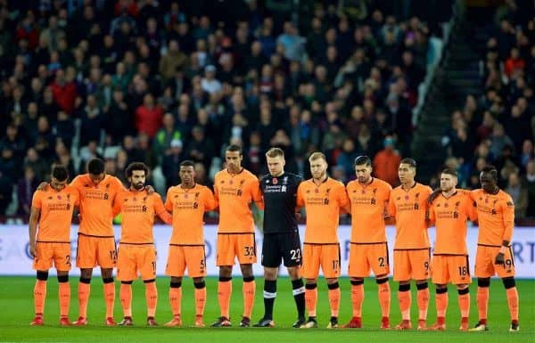 LONDON, ENGLAND - Saturday, November 4, 2017: Liverpool players stand for a minute's silence ahead of Remembrance Day before the FA Premier League match between West Ham United FC and Liverpool FC at the London Stadium. (Pic by David Rawcliffe/Propaganda)