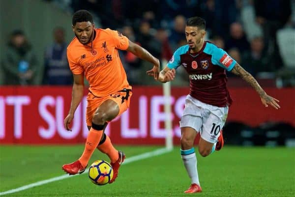 LONDON, ENGLAND - Saturday, November 4, 2017: Liverpool's Joe Gomez and West Ham United's Manuel Lanzini during the FA Premier League match between West Ham United FC and Liverpool FC at the London Stadium. (Pic by David Rawcliffe/Propaganda)