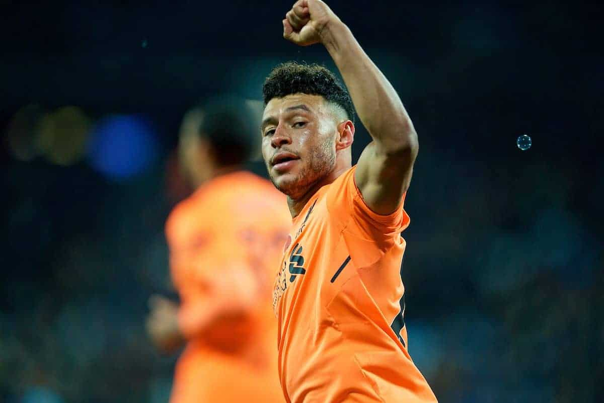 LONDON, ENGLAND - Saturday, November 4, 2017: Liverpool's Alex Oxlade-Chamberlain scores the third goal during the FA Premier League match between West Ham United FC and Liverpool FC at the London Stadium. (Pic by David Rawcliffe/Propaganda)