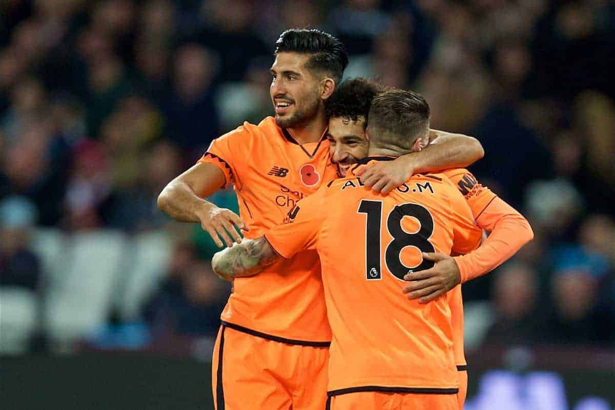 LONDON, ENGLAND - Saturday, November 4, 2017: Liverpool's Mohamed Salah celebrates scoring the fourth goal with team-mates Emre Can and Alberto Moreno during the FA Premier League match between West Ham United FC and Liverpool FC at the London Stadium. (Pic by David Rawcliffe/Propaganda)