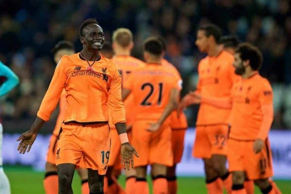 LONDON, ENGLAND - Saturday, November 4, 2017: Liverpool's Sadio Mane celebrates after his side's fourth goal during the FA Premier League match between West Ham United FC and Liverpool FC at the London Stadium. (Pic by David Rawcliffe/Propaganda)