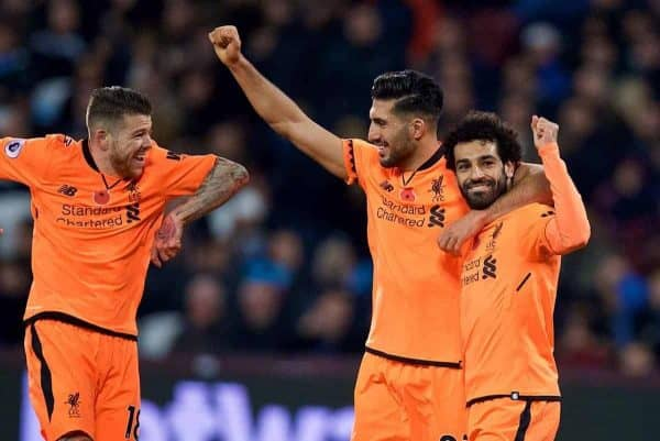 LONDON, ENGLAND - Saturday, November 4, 2017: Liverpool's Mohamed Salah celebrates scoring the fourth goal with team-mates Alberto Moreno and Emre Can during the FA Premier League match between West Ham United FC and Liverpool FC at the London Stadium. (Pic by David Rawcliffe/Propaganda)