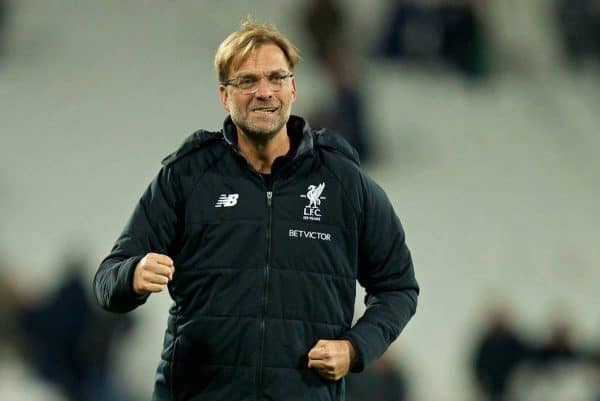 LONDON, ENGLAND - Saturday, November 4, 2017: Liverpool's manager J¸rgen Klopp celebrates with the supporters after the 4-1 victory over West Ham United during the FA Premier League match between West Ham United FC and Liverpool FC at the London Stadium. (Pic by David Rawcliffe/Propaganda)