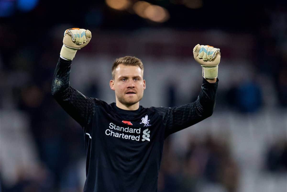 LONDON, ENGLAND - Saturday, November 4, 2017: Liverpool's goalkeeper Simon Mignolet celebrates with the supporters after the 4-1 victory over West Ham United during the FA Premier League match between West Ham United FC and Liverpool FC at the London Stadium. (Pic by David Rawcliffe/Propaganda)