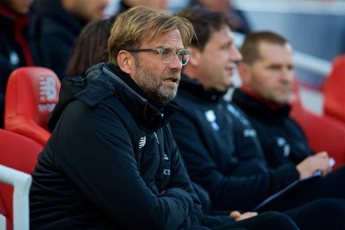 LIVERPOOL, ENGLAND - Saturday, October 28, 2017: Liverpool's manager Jürgen Klopp before the FA Premier League match between Liverpool and Southampton at Anfield. (Pic by David Rawcliffe/Propaganda)