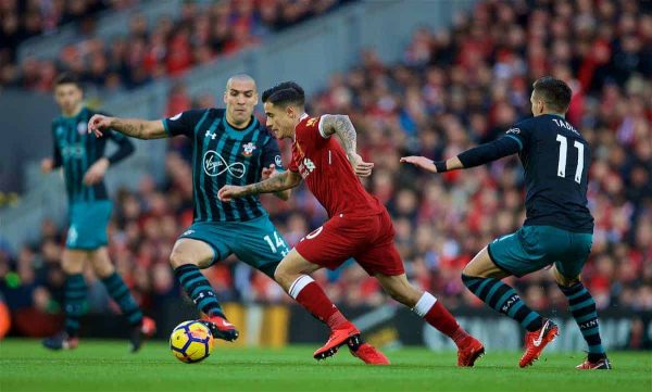 LIVERPOOL, ENGLAND - Saturday, October 28, 2017: Liverpool's Philippe Coutinho Correia during the FA Premier League match between Liverpool and Southampton at Anfield. (Pic by David Rawcliffe/Propaganda)