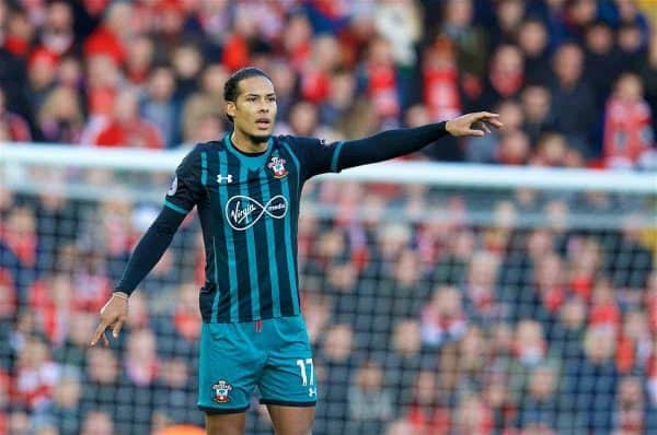 Southampton's Virgil Van Dijk during the FA Premier League match between Liverpool and Southampton at Anfield. (Pic by David Rawcliffe/Propaganda)