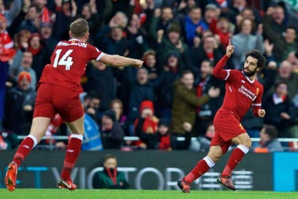 Liverpool's Mohamed Salah celebrates scoring the first goal during the FA Premier League match between Liverpool and Southampton at Anfield. (Pic by David Rawcliffe/Propaganda)