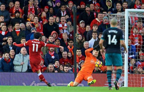 LIVERPOOL, ENGLAND - Saturday, October 28, 2017: Liverpool's Mohamed Salah scores the second goal during the FA Premier League match between Liverpool and Southampton at Anfield. (Pic by David Rawcliffe/Propaganda)