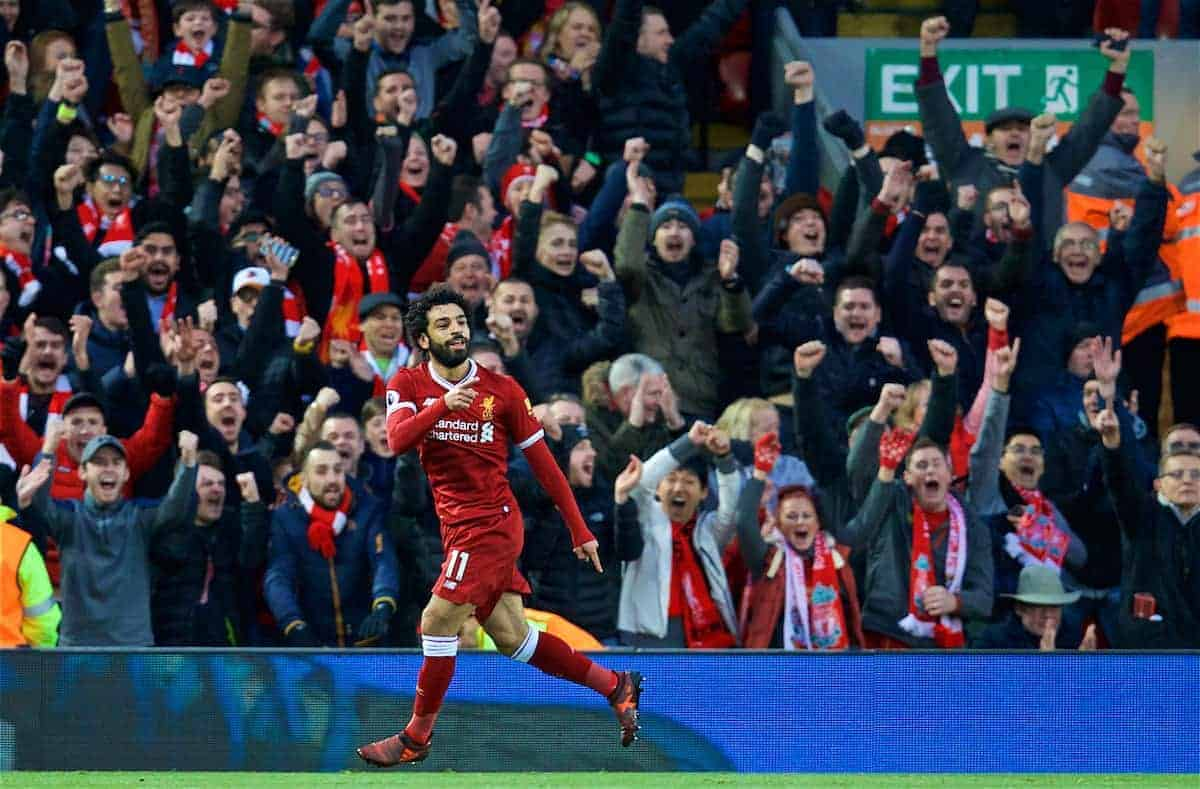 LIVERPOOL, ENGLAND - Saturday, October 28, 2017: Liverpool's Mohamed Salah celebrates scoring the second goal during the FA Premier League match between Liverpool and Southampton at Anfield. (Pic by David Rawcliffe/Propaganda)