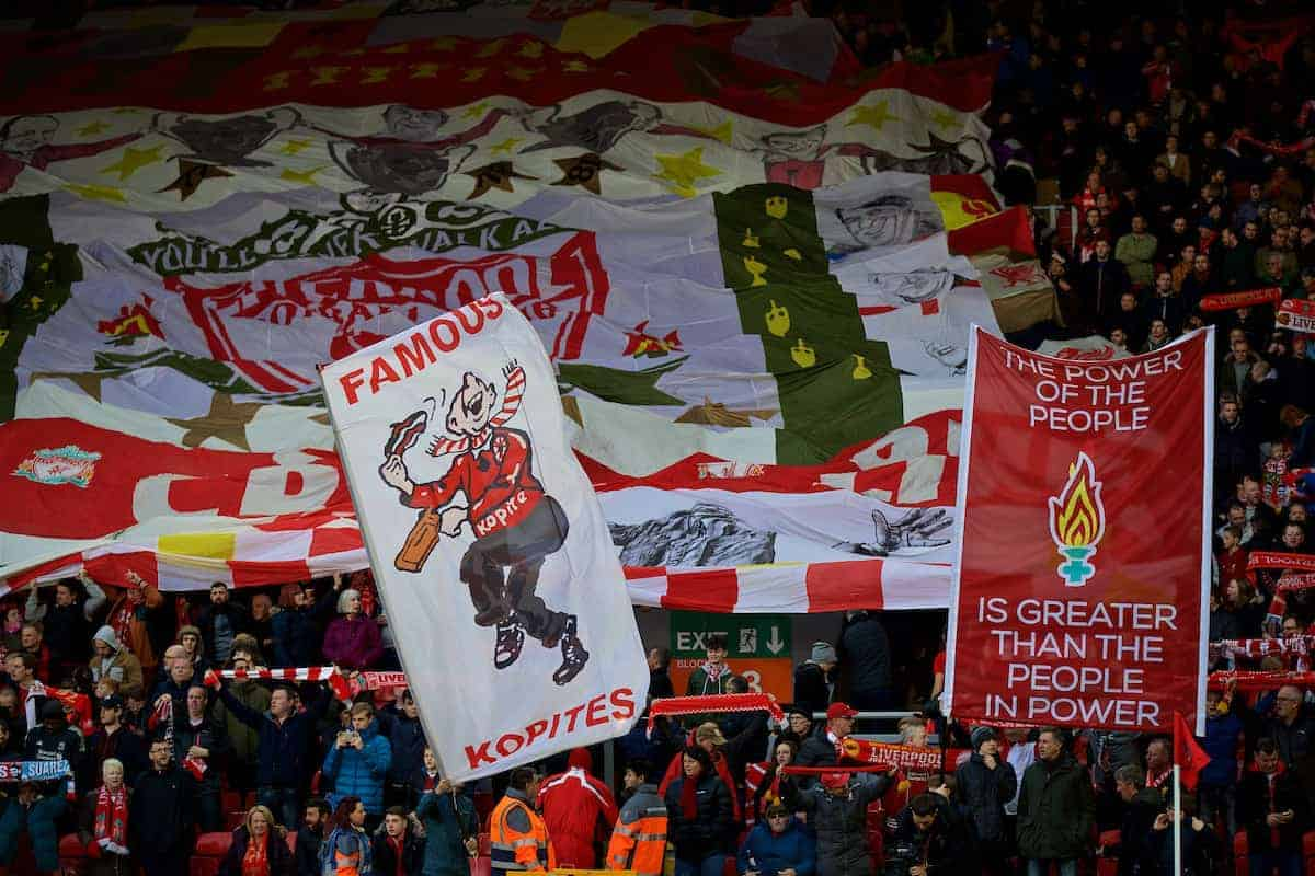 "LIVERPOOL, ENGLAND - Saturday, October 28, 2017: Liverpool supporters' banner ""The power of the people is greater than the people in power"" on the Spion Kop before the FA Premier League match between Liverpool and Southampton at Anfield. (Pic by David Rawcliffe/Propaganda)"