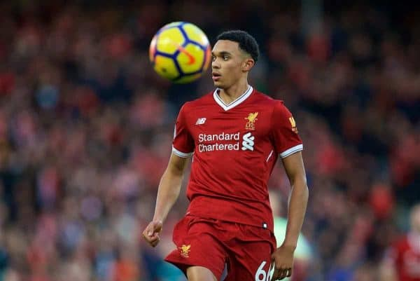 Liverpool's Trent Alexander-Arnold during the FA Premier League match between Liverpool and Southampton at Anfield. (Pic by David Rawcliffe/Propaganda)