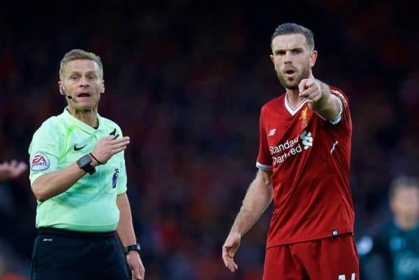 LIVERPOOL, ENGLAND - Saturday, October 28, 2017: Liverpool's captain Jordan Henderson and referee Mike Jones during the FA Premier League match between Liverpool and Southampton at Anfield. (Pic by David Rawcliffe/Propaganda)