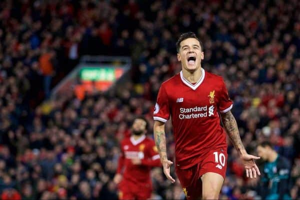 LIVERPOOL, ENGLAND - Saturday, October 28, 2017: Liverpool's Philippe Coutinho Correia celebrates scoring the third goal during the FA Premier League match between Liverpool and Southampton at Anfield. (Pic by David Rawcliffe/Propaganda)