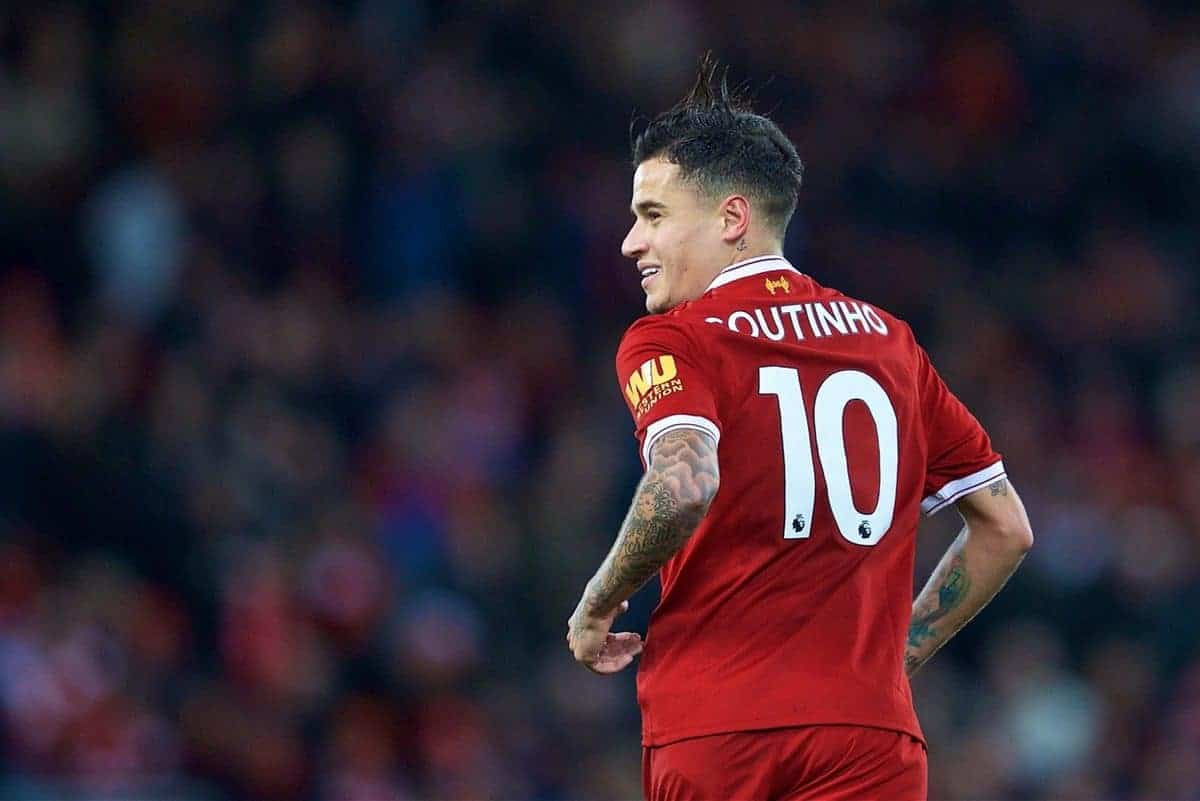 LIVERPOOL, ENGLAND - Saturday, October 28, 2017: Liverpool's Philippe Coutinho Correia celebrates scoring the third goal with team-mate Roberto Firmino during the FA Premier League match between Liverpool and Southampton at Anfield. (Pic by David Rawcliffe/Propaganda)