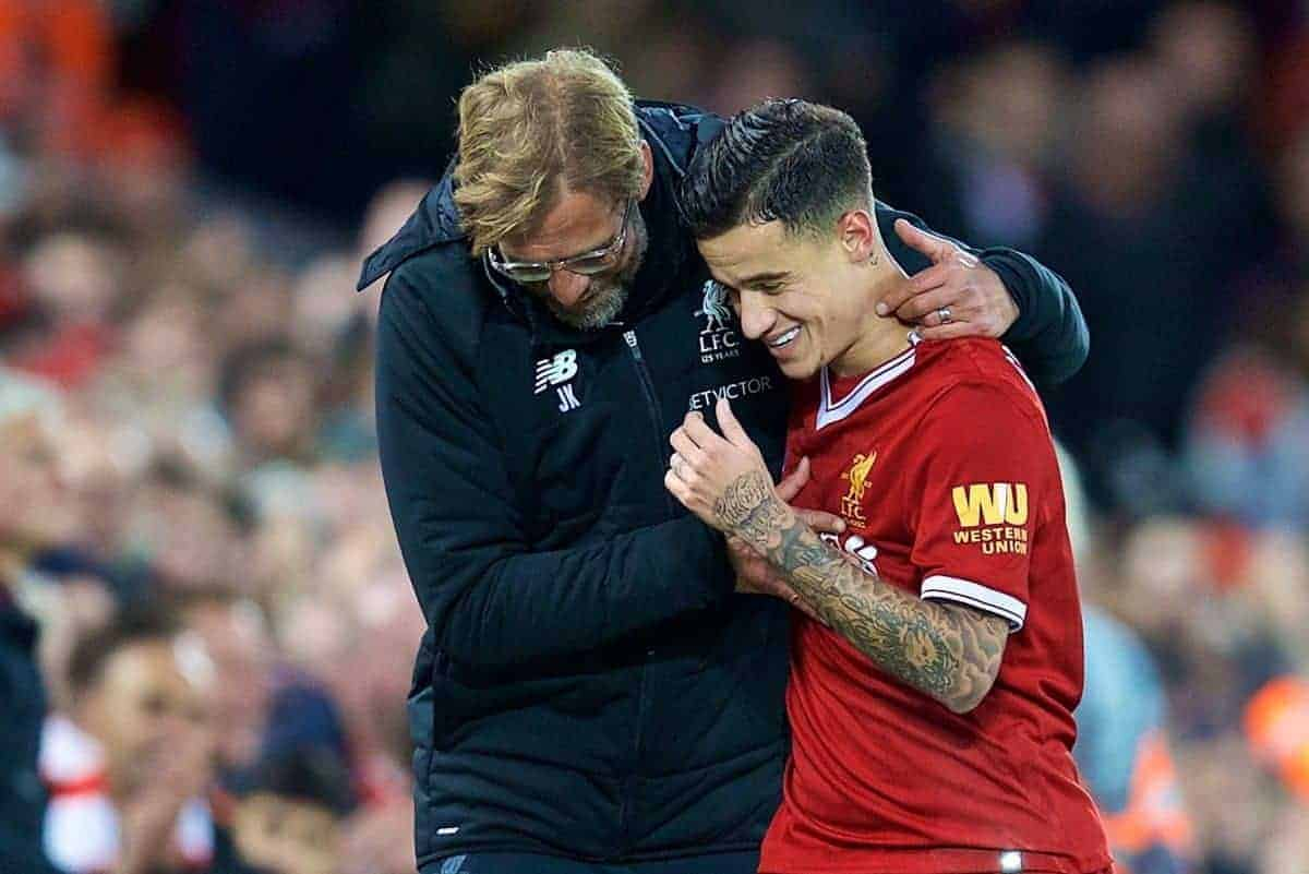 LIVERPOOL, ENGLAND - Saturday, October 28, 2017: Liverpool's Philippe Coutinho Correia is embraced by manager J¸rgen Klopp as he is substituted immediately after scoring the third goal during the FA Premier League match between Liverpool and Southampton at Anfield. (Pic by David Rawcliffe/Propaganda)