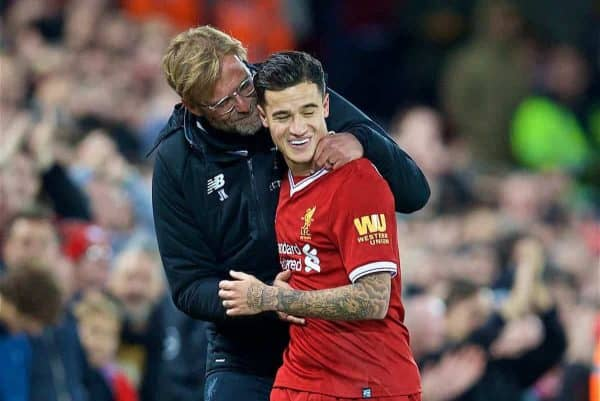 LIVERPOOL, ENGLAND - Saturday, October 28, 2017: Liverpool's Philippe Coutinho Correia is embraced by manager Jürgen Klopp as he is substituted immediately after scoring the third goal during the FA Premier League match between Liverpool and Southampton at Anfield. (Pic by David Rawcliffe/Propaganda)
