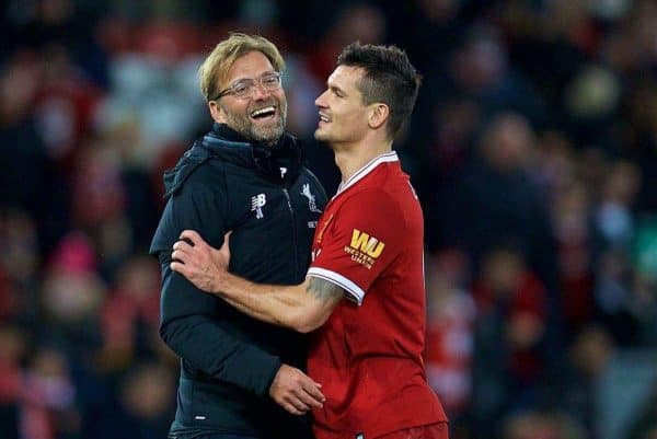 LIVERPOOL, ENGLAND - Saturday, October 28, 2017: Liverpool's manager J¸rgen Klopp celebrates with Dejan Lovren after the 3-0 victory during the FA Premier League match between Liverpool and Southampton at Anfield. (Pic by David Rawcliffe/Propaganda)