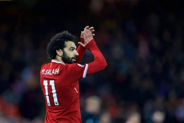 LIVERPOOL, ENGLAND - Saturday, October 28, 2017: Liverpool's Mohamed Salah during the FA Premier League match between Liverpool and Southampton at Anfield. (Pic by David Rawcliffe/Propaganda)