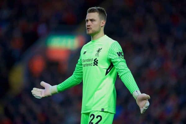 Liverpool's goalkeeper Simon Mignolet during the FA Premier League match between Liverpool and Southampton at Anfield. (Pic by David Rawcliffe/Propaganda)