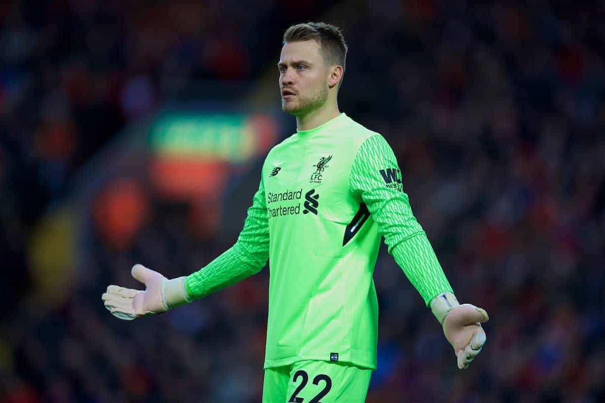 LIVERPOOL, ENGLAND - Saturday, October 28, 2017: Liverpool's goalkeeper Simon Mignolet during the FA Premier League match between Liverpool and Southampton at Anfield. (Pic by David Rawcliffe/Propaganda)
