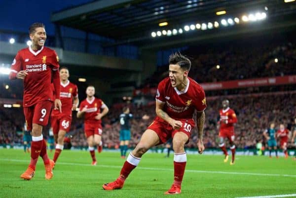 LIVERPOOL, ENGLAND - Saturday, October 28, 2017: Liverpool's Philippe Coutinho Correia celebrates scoring the second goal during the FA Premier League match between Liverpool and Southampton at Anfield. (Pic by David Rawcliffe/Propaganda)