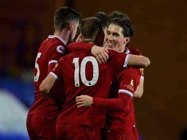 BIRKENHEAD, ENGLAND - Saturday, November 18, 2017: Liverpool's Herbie Kane [#10] celebrates scoring the first goal with team-mate Harry Wilson during the Under-23 FA Premier League 2 Division 1 match between Liverpool and Everton at Prenton Park. (Pic by David Rawcliffe/Propaganda)