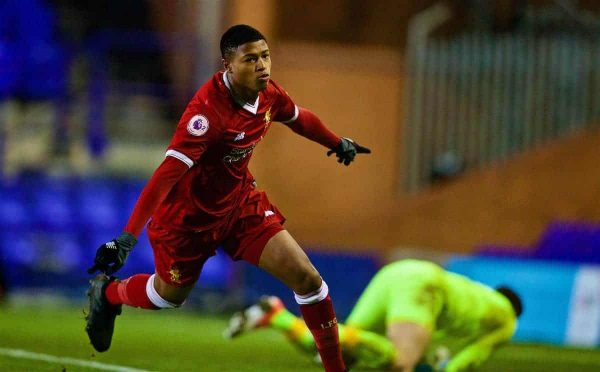 BIRKENHEAD, ENGLAND - Saturday, November 18, 2017: Liverpool's Rhian Brewster celebrates scoring the third goal during the Under-23 FA Premier League 2 Division 1 match between Liverpool and Everton at Prenton Park. (Pic by David Rawcliffe/Propaganda)