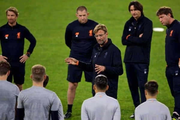 SEVILLE, SPAIN - Monday, November 20, 2017: Liverpool's manager J¸rgen Klopp during a training session ahead of the UEFA Champions League Group E match between Sevilla FC and Liverpool FC at the Estadio RamÛn S·nchez Pizju·n. (Pic by David Rawcliffe/Propaganda)