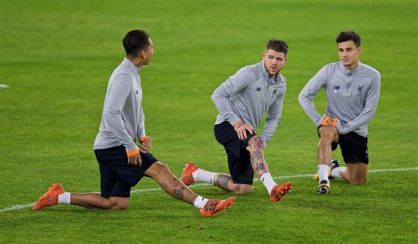 SEVILLE, SPAIN - Monday, November 20, 2017: Liverpool's Alberto Moreno and Philippe Coutinho Correia during a training session ahead of the UEFA Champions League Group E match between Sevilla FC and Liverpool FC at the Estadio Ramón Sánchez Pizjuán. (Pic by David Rawcliffe/Propaganda)