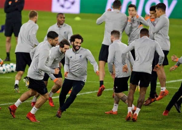 Liverpool's Mohamed Salah during a training session ahead of the UEFA Champions League Group E match between Sevilla FC and Liverpool FC at the Estadio Ramón Sánchez Pizjuán. (Pic by David Rawcliffe/Propaganda)