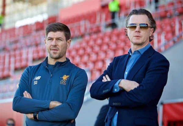 SEVILLE, SPAIN - Tuesday, November 21, 2017: Liverpool's Under-18 manager Steven Gerrard and former Liverpool player Steve McManaman during the UEFA Youth League Group E match between Sevilla FC and Liverpool FC at the Ciudad Deportiva Jose Ramon Cisneros. (Pic by David Rawcliffe/Propaganda)