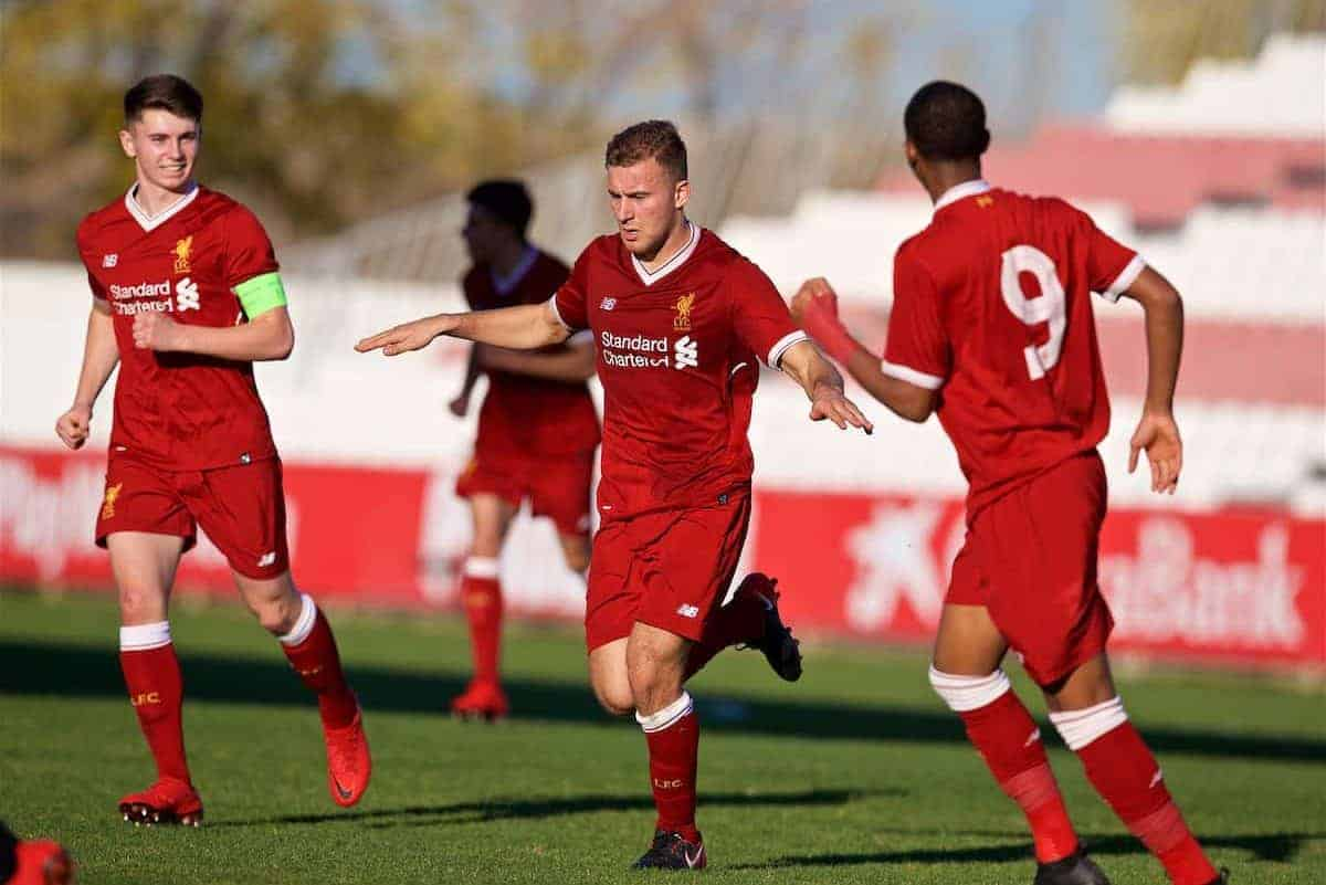 SEVILLE, SPAIN - Tuesday, November 21, 2017: Liverpool's Herbie Kane celebrates scoring the second goal during the UEFA Youth League Group E match between Sevilla FC and Liverpool FC at the Ciudad Deportiva Jose Ramon Cisneros. (Pic by David Rawcliffe/Propaganda)