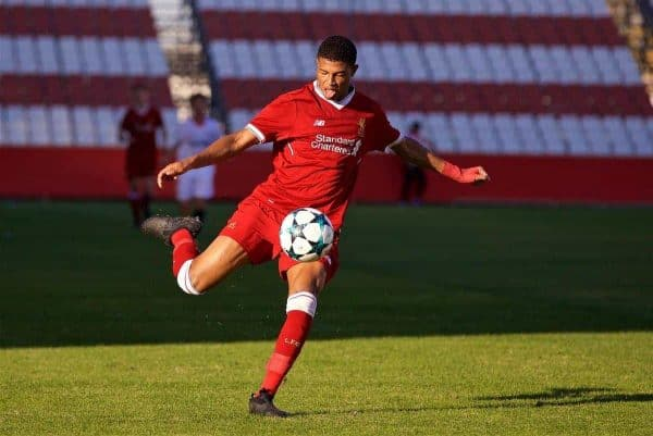 SEVILLE, SPAIN - Tuesday, November 21, 2017: Liverpool's Rhian Brewster during the UEFA Youth League Group E match between Sevilla FC and Liverpool FC at the Ciudad Deportiva Jose Ramon Cisneros. (Pic by David Rawcliffe/Propaganda)