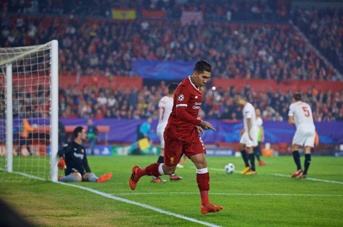 SEVILLE, SPAIN - Tuesday, November 21, 2017: Liverpool's Roberto Firmino celebrates scoring the first goal during the UEFA Champions League Group E match between Sevilla FC and Liverpool FC at the Estadio Ramón Sánchez Pizjuán. (Pic by David Rawcliffe/Propaganda)
