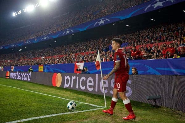 SEVILLE, SPAIN - Tuesday, November 21, 2017: Priceless... Liverpool's Philippe Coutinho Correia takes a corner-kick during the UEFA Champions League Group E match between Sevilla FC and Liverpool FC at the Estadio Ramón Sánchez Pizjuán. (Pic by David Rawcliffe/Propaganda)