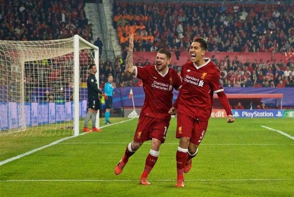 SEVILLE, SPAIN - Tuesday, November 21, 2017: Liverpool's Alberto Moreno and Roberto Firmino celebrates the second goal during the UEFA Champions League Group E match between Sevilla FC and Liverpool FC at the Estadio RamÛn S·nchez Pizju·n. (Pic by David Rawcliffe/Propaganda)