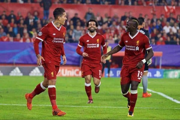 SEVILLE, SPAIN - Tuesday, November 21, 2017: Liverpool's Roberto Firmino celebrates scoring the third goal during the UEFA Champions League Group E match between Sevilla FC and Liverpool FC at the Estadio RamÛn S·nchez Pizju·n. (Pic by David Rawcliffe/Propaganda)