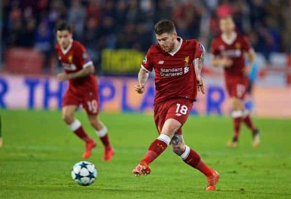 SEVILLE, SPAIN - Tuesday, November 21, 2017: Liverpool's Alberto Moreno during the UEFA Champions League Group E match between Sevilla FC and Liverpool FC at the Estadio Ramón Sánchez Pizjuán. (Pic by David Rawcliffe/Propaganda)
