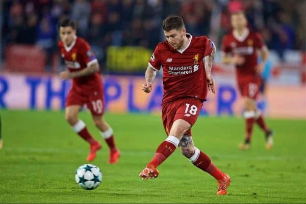Liverpool's Alberto Moreno during the UEFA Champions League Group E match between Sevilla FC and Liverpool FC at the Estadio Ramón Sánchez Pizjuán