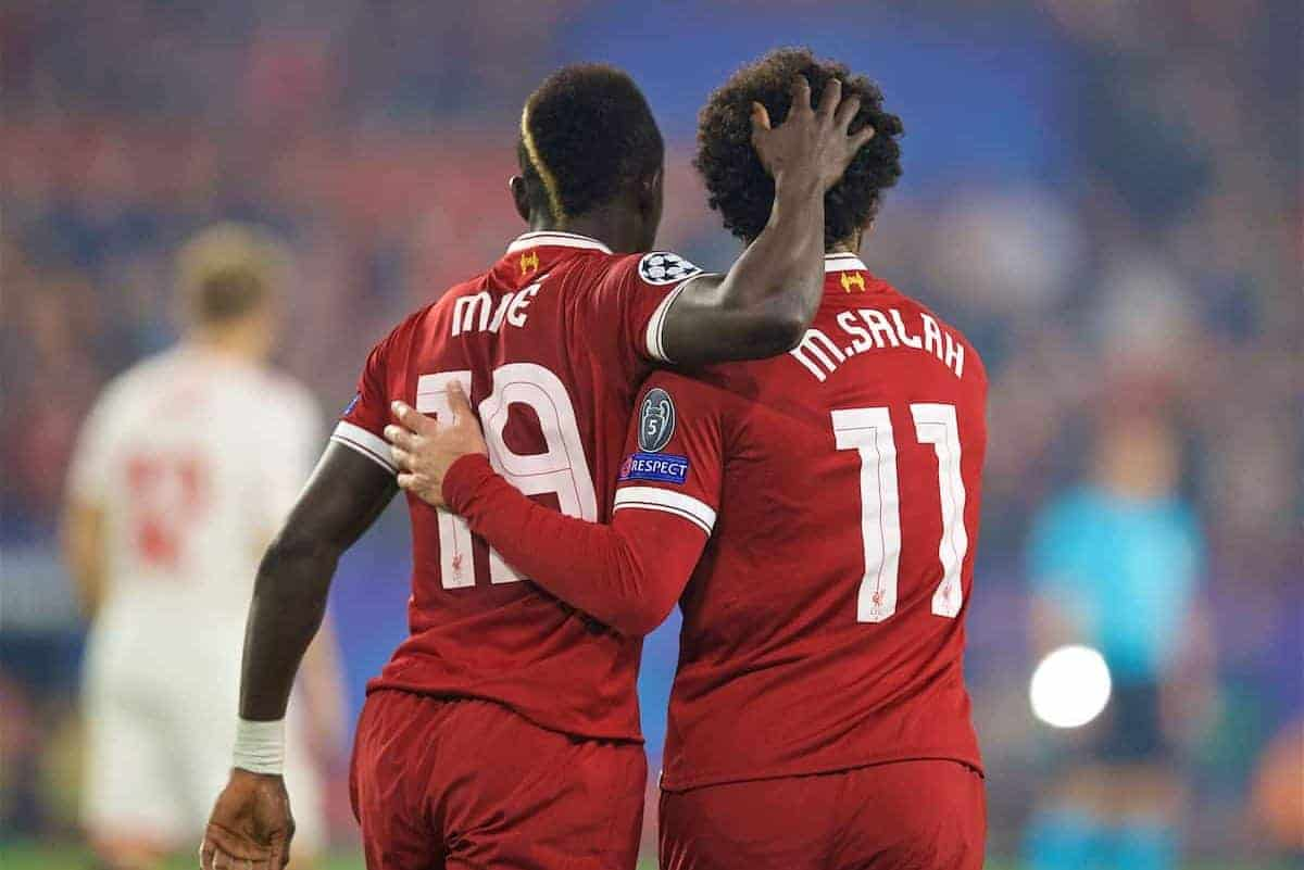 SEVILLE, SPAIN - Tuesday, November 21, 2017: Liverpool's Sadio Mane celebrates scoring the second goal with team-mate Mohamed Salah during the UEFA Champions League Group E match between Sevilla FC and Liverpool FC at the Estadio Ramón Sánchez Pizjuán. (Pic by David Rawcliffe/Propaganda)