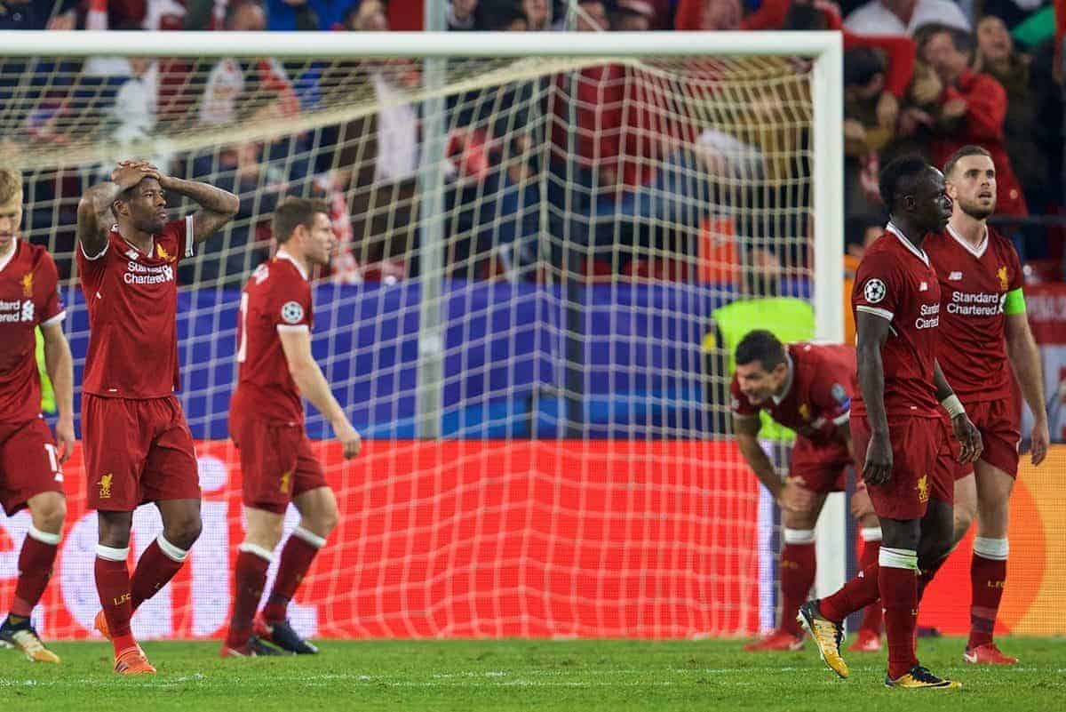 SEVILLE, SPAIN - Tuesday, November 21, 2017: Liverpool players Joe Gomez, Ragnar Klavan, Georginio Wijnaldum looks dejected after throwing away a three goal half-time lead as Sevilla score a late equalising goal during the UEFA Champions League Group E match between Sevilla FC and Liverpool FC at the Estadio RamÛn S·nchez Pizju·n. (Pic by David Rawcliffe/Propaganda)