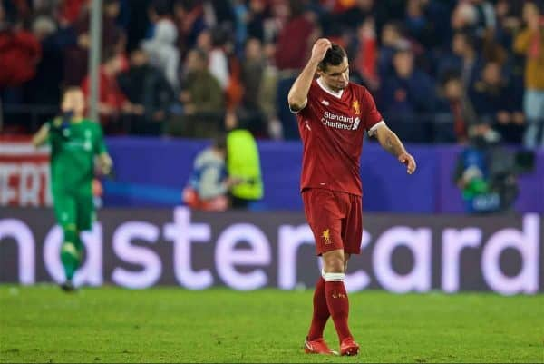 SEVILLE, SPAIN - Tuesday, November 21, 2017: Liverpool Dejan Lovren looks dejected after throwing away a three goal half-time lead as Sevilla score a late equalising goal during the UEFA Champions League Group E match between Sevilla FC and Liverpool FC at the Estadio Ramón Sánchez Pizjuán. (Pic by David Rawcliffe/Propaganda)