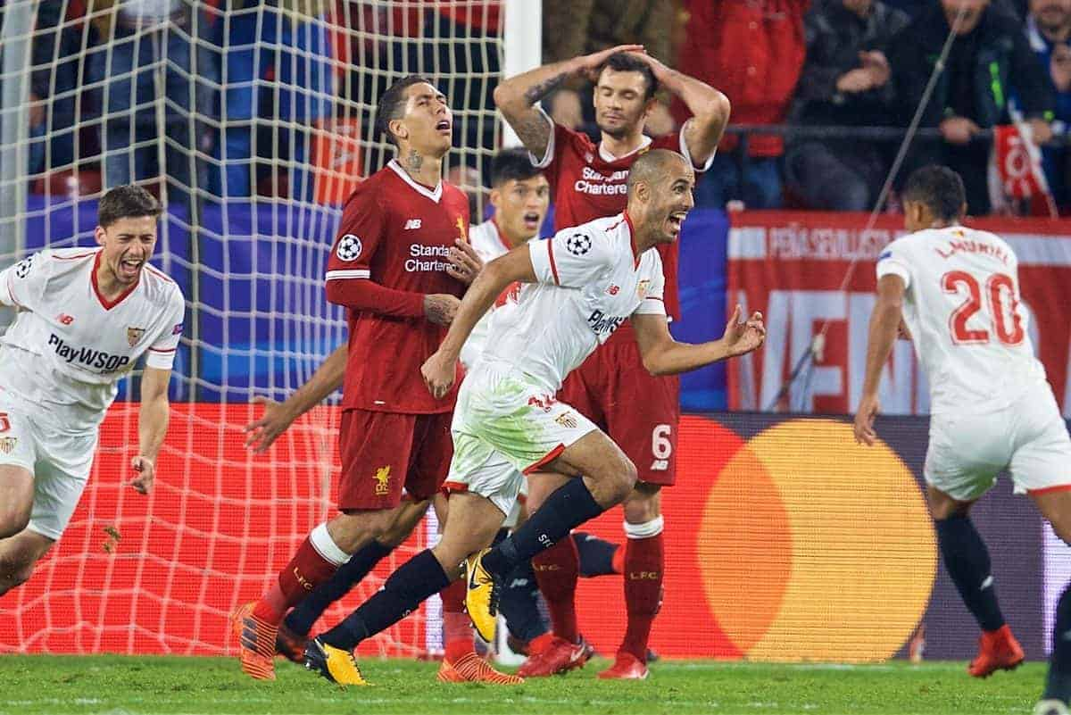 SEVILLE, SPAIN - Tuesday, November 21, 2017: Sevilla's Guido Pizarro celebrates scoring a late equalising goal to seal a dramatic 3-3 draw, after being down 3-0 at half-time, during the UEFA Champions League Group E match between Sevilla FC and Liverpool FC at the Estadio RamÛn S·nchez Pizju·n. (Pic by David Rawcliffe/Propaganda)