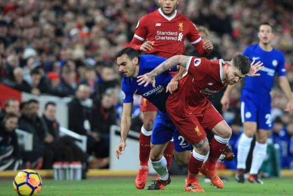 LIVERPOOL, ENGLAND - Saturday, November 25, 2017: Liverpool's Alberto Moreno (R) tackles Chelsea's Davide Zappacosta during the FA Premier League match between Liverpool and Chelsea at Anfield. (Pic by Lindsey Parnaby/Propaganda)