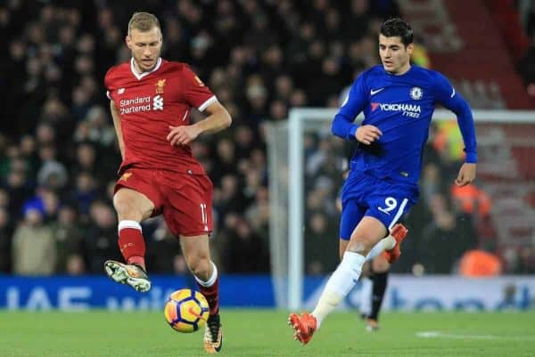 LIVERPOOL, ENGLAND - Saturday, November 25, 2017: Liverpool's Ragnar Klavan (L) vies with Chelseaís ¡lvaro Morata during the FA Premier League match between Liverpool and Chelsea at Anfield. (Pic by Lindsey Parnaby/Propaganda)