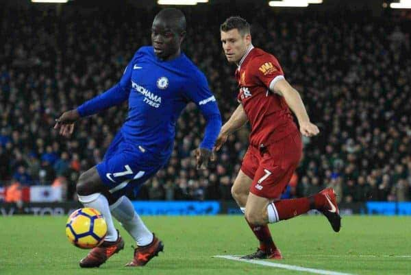 LIVERPOOL, ENGLAND - Saturday, November 25, 2017: Liverpoolís James Milner (R) challenges Chelseaís Ngolo KantÈ during the FA Premier League match between Liverpool and Chelsea at Anfield. (Pic by Lindsey Parnaby/Propaganda)